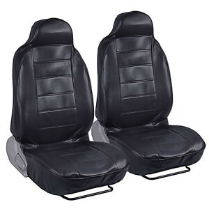 High Back Bucket Car Seat Covers Premier Pu Leather In Solid Black 2pc Set