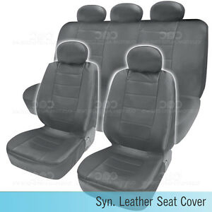 Pu Synthetic Leather Gray Seat Cover Car Genuine Leather Feel Front