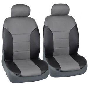 Black Gray Two Tone Leather Seat Covers For Car By Motor Trend Front Pair