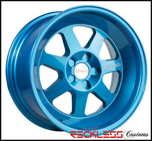 17 Klutch Ml7 Deep Lip Blue Staggered Wheels Rims Fits Toyota Celica