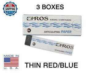 3 Boxes Dental Articulating Paper Thin 0 003 Red blue 432 Sheets Made In Usa