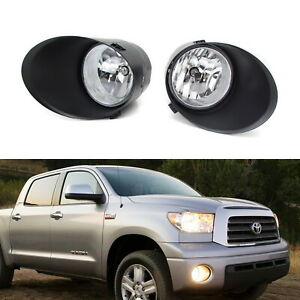 Complete Clear Lens Fog Light Kit W Bezel Covers Wiring For 07 13 Toyota Tundra