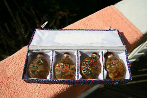 Chinese Snuff Bottles Set Of 4 In A Box Reverse Paintings