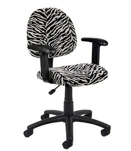 New Microfiber Deluxe Posture Chair With Adjustable Arms Seat With Zebra Print