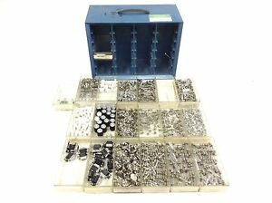 Lot Of New Mixed Buss Fuses And Electronic Components In Storage Bin