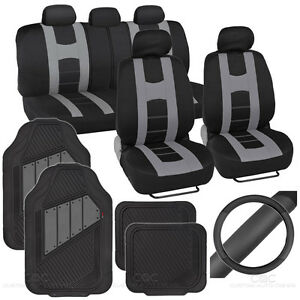 14pc Set Car Seat Covers Rubber Mats Steering Wheel Cover Rome Sport Gray