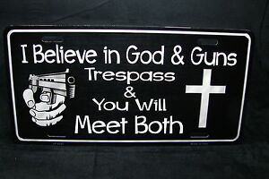 God And Guns Metal Novelty License Plate Tag For Cars