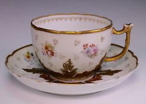 Gardner W Islamic Script Russian Porcelain Large Cup And Saucer