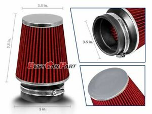 Red 3 5 89mm Inlet Narrow Air Intake Cone Replacement Quality Dry Air Filter