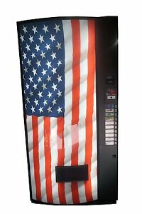 Vendo Univendor 2 Multi Price Soda Vending Machine Bottles cans Usa Flag Graphic