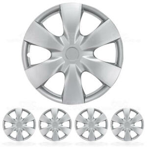 Set Of 4 Wheel Covers Silver Hubcaps Replica Pieces Replacement Kit 15 Inch