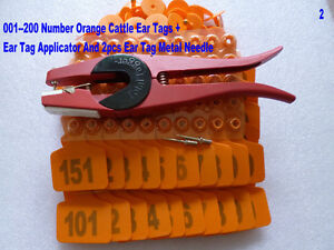 001 200 Number Orange Cattle Ear Tags Ear Tag Forcep