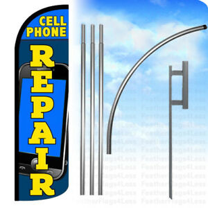 Cell Phone Repair Windless Swooper Feather Full Sleeve Banner Flag Kit Bq
