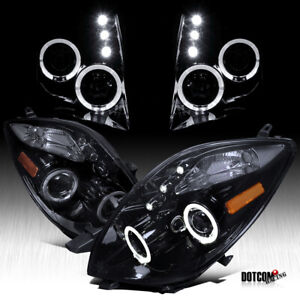 Black Smoke For 2006 2008 Toyota Yaris Hatchback Led Halo Projector Headlights