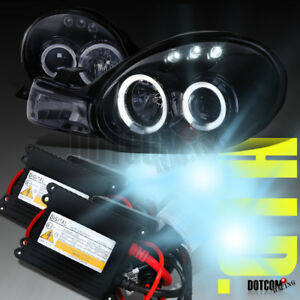 Glossy Black 2000 2002 Dodge Neon Halo Projector Headlights H1 6000k Hid Kit