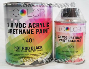 I Color Factory Pack Hot Rod Black Urethane Single Stage Paint Quart Kit