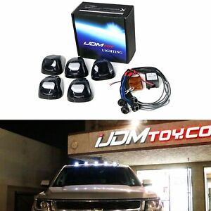 5 White Led Black Smoked Cab Roof Marker Lights W Remote Strobe Flash Module