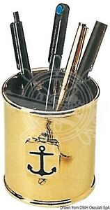 Osculati Pen Pencil Holder Stationery Organizer Polished Brass 85mm