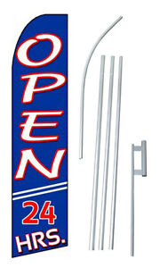 Complete 15 Open 2 Hours Kit Swooper Feather Flutter Banner Sign Flag