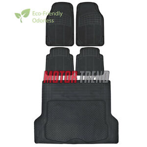 Odorless Hd Eco tech Rubber Floor Mats Car Suv Truck W Cargo Liner Black