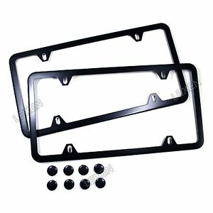 2pcs Slim Black Stainless Steel License Plate Frame Screw Cap Slim 4 Hole Bf 2