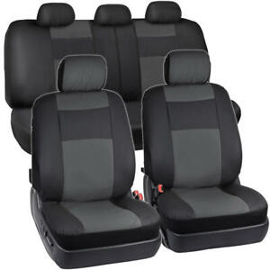 Synthetic Leather Car Seat Covers Black Charcoal Gray Full Set Protection