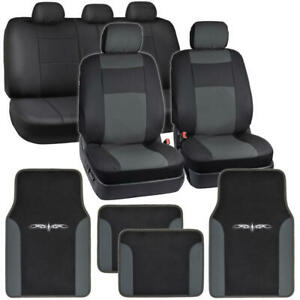 Dark Gray On Black Pu Leather Seat Covers For Car W Vinyl Trim Floor Mats