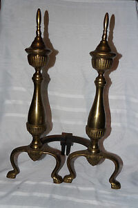 Vintage Fire Place Brass Andirons Not Antique