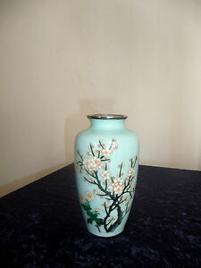 A Sato Japan Signed Appealing Cloisonn Vase With Tree In Full Blossom