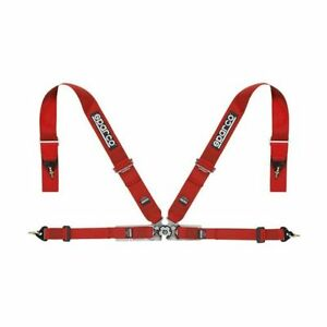 Sparco 04715mrs Competition Racing 4 Point Snap In Seat Belt Harness Red
