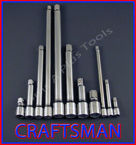 Craftsman Hand Tools 11pc Lot 1 4 3 8 1 2 Ratchet Wrench Socket Extension Set