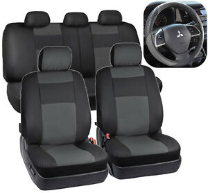 Black Charcoal Gray Pu Leather Seat Covers For Car Auto Steering Wheel Cover