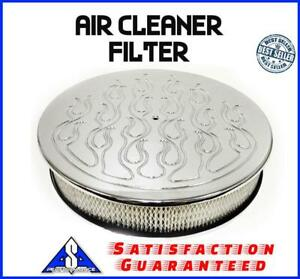 14 Aluminum Flamed Filter Breather Air Cleaner Filter Fits Ford Chevy Sbc