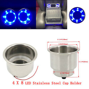 4pcs 8 Led Blue Stainless Steel Cup Drink Holder Marine Boat Car Truck Camper