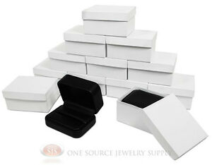12 Piece Double Ring Black Leather Jewelry Gift Box 3 1 8 w X 2 3 8 d X 1 1 2 h