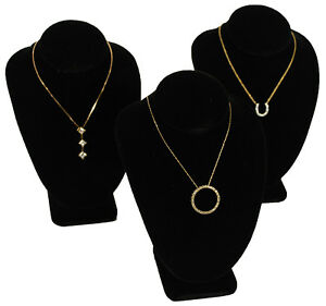 3 Black Velvet Necklace Jewelry Display Busts 6
