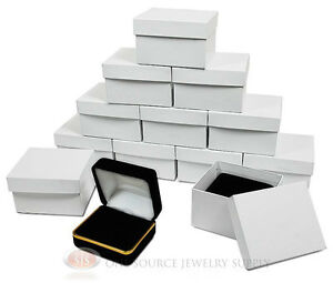 12 Piece Double Ring Black Velvet Jewelry Gift Box Gold 2 3 8 w X 2 d X 1 1 2 h