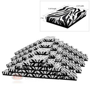 Large 100 Zebra Print Cotton Filled Jewelry Gift Boxes 5 3 8 X 3 7 8 X 1 h
