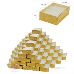 100 Gold View Top Cotton Filled Jewelry Gift Boxes 3 1 4 X 2 1 4