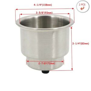 2pcs Stainless Steel Brushed Cup Drink Holder Marine Boat Car Truck Camper Rv