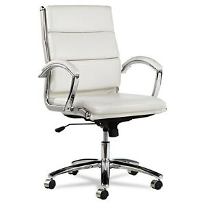 White Leather Computer Office Desk Chair With Padded Arms