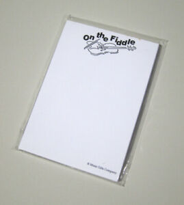 10 Pack White Note Pads on The Fiddle Violin Music Stationery Gift