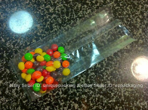 100 4x2x8 Clear Side Gusseted Candy Cookie Bakery Cello Poly Cellophane Bags