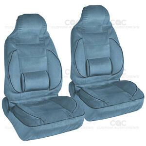 Blue 2pc High Back Bucket Seat Covers Set Built In Lumbar Support Cushion