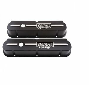 Edelbrock 41653 Black Racing Series Valve Covers 3 7 Tall For Ford 289 302 351w