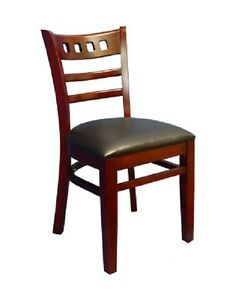 Lot Of 20 Mahogany Finish Decorative Back Wooden Restaurant Chair Black Seat