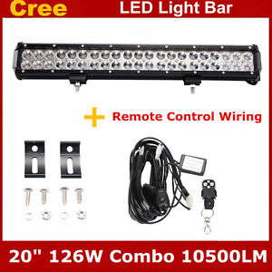 20inch 126w Cree Led Light Bar Combo Beam With Wiring Kit Harness Suv Off road