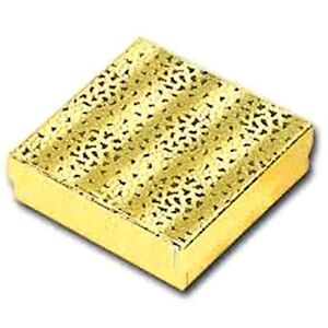 100 Gold Cotton Filled Jewelry Gift Boxes 3 1 2 X 3 1 2 X 1