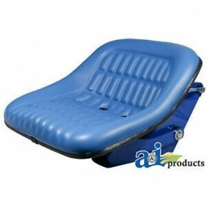 Ford New Holland Seat Assembly With Suspension Blue Vinyl Heavy Duty