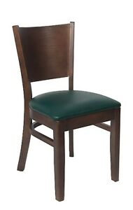 Lot Of 20 Walnut Finish Solid Back Wooden Restaurant Chair And Green Vinyl Seat